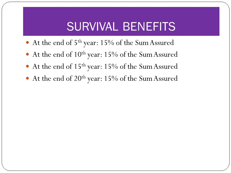 SURVIVAL BENEFITS At the end of 5 th year: 15% of the Sum Assured At the end of 10 th year: 15% of the Sum Assured At the end of 15 th year: 15% of the Sum Assured At the end of 20 th year: 15% of the Sum Assured