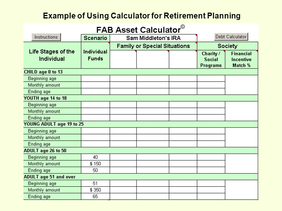 Example of Using Calculator for Retirement Planning