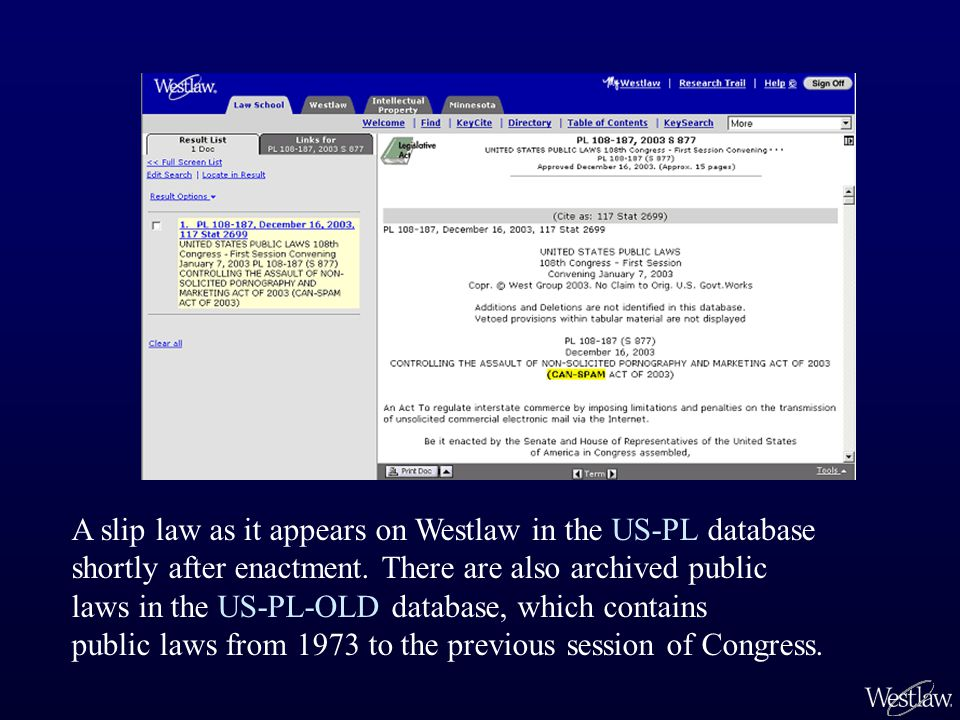 A slip law as it appears on Westlaw in the US-PL database shortly after enactment.
