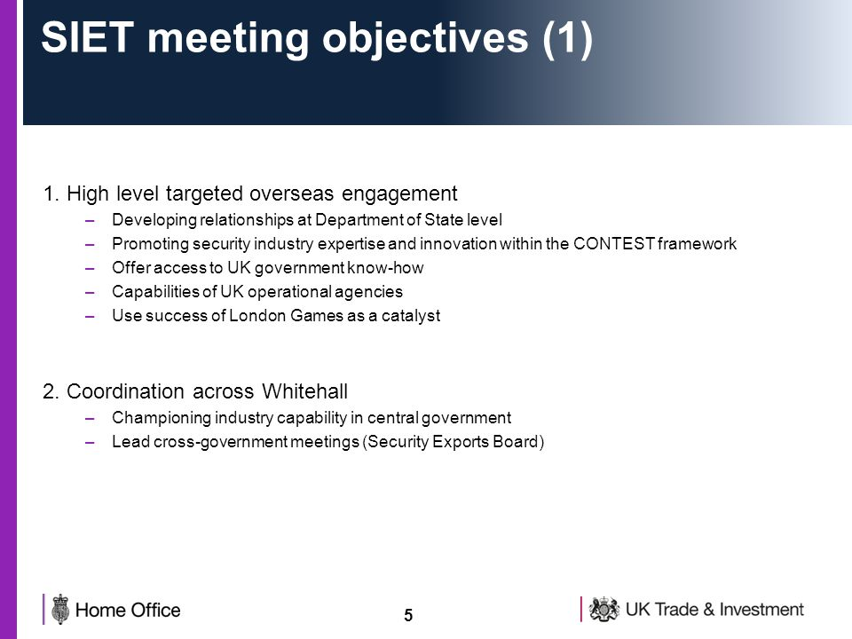 5 SIET meeting objectives (1) 1.