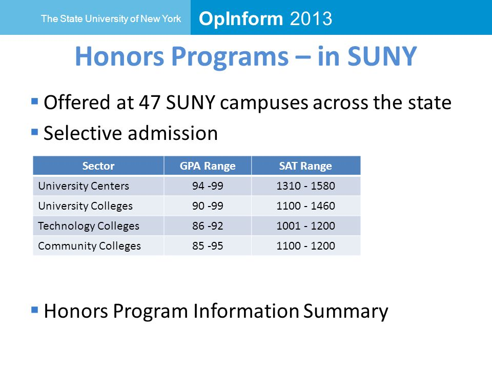 OpInform 2013 The State University of New York Honors Programs – in SUNY  Offered at 47 SUNY campuses across the state  Selective admission  Honors Program Information Summary SectorGPA RangeSAT Range University Centers University Colleges Technology Colleges Community Colleges