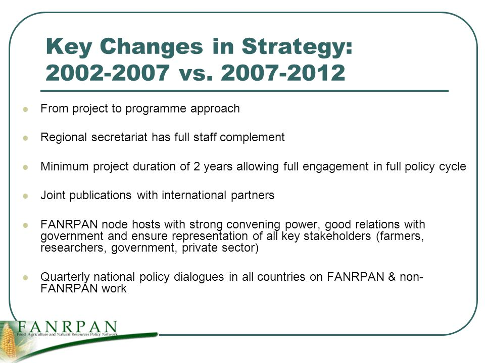 Key Changes in Strategy: vs.