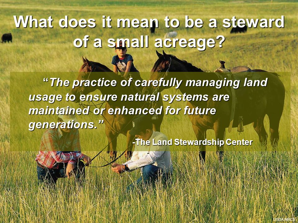 What does it mean to be a steward of a small acreage.