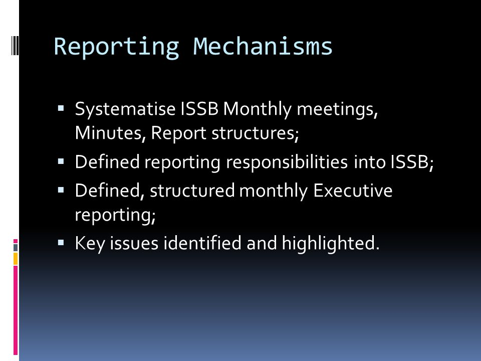 Reporting Mechanisms  Systematise ISSB Monthly meetings, Minutes, Report structures;  Defined reporting responsibilities into ISSB;  Defined, structured monthly Executive reporting;  Key issues identified and highlighted.