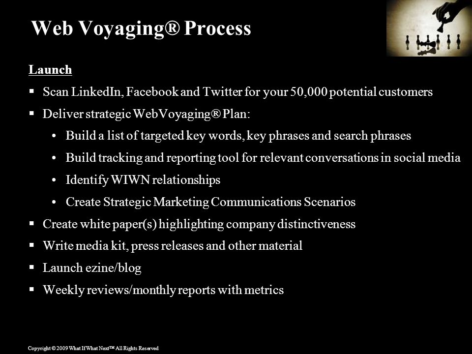 Copyright © 2009 What If What Next™ All Rights Reserved Web Voyaging® Process Launch  Scan LinkedIn, Facebook and Twitter for your 50,000 potential customers  Deliver strategic WebVoyaging® Plan: Build a list of targeted key words, key phrases and search phrases Build tracking and reporting tool for relevant conversations in social media Identify WIWN relationships Create Strategic Marketing Communications Scenarios  Create white paper(s) highlighting company distinctiveness  Write media kit, press releases and other material  Launch ezine/blog  Weekly reviews/monthly reports with metrics