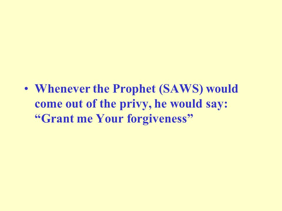 Whenever the Prophet (SAWS) would come out of the privy, he would say: Grant me Your forgiveness