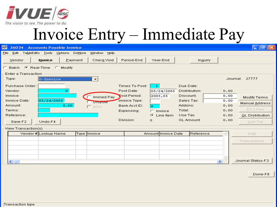 Invoice Entry – Immediate Pay