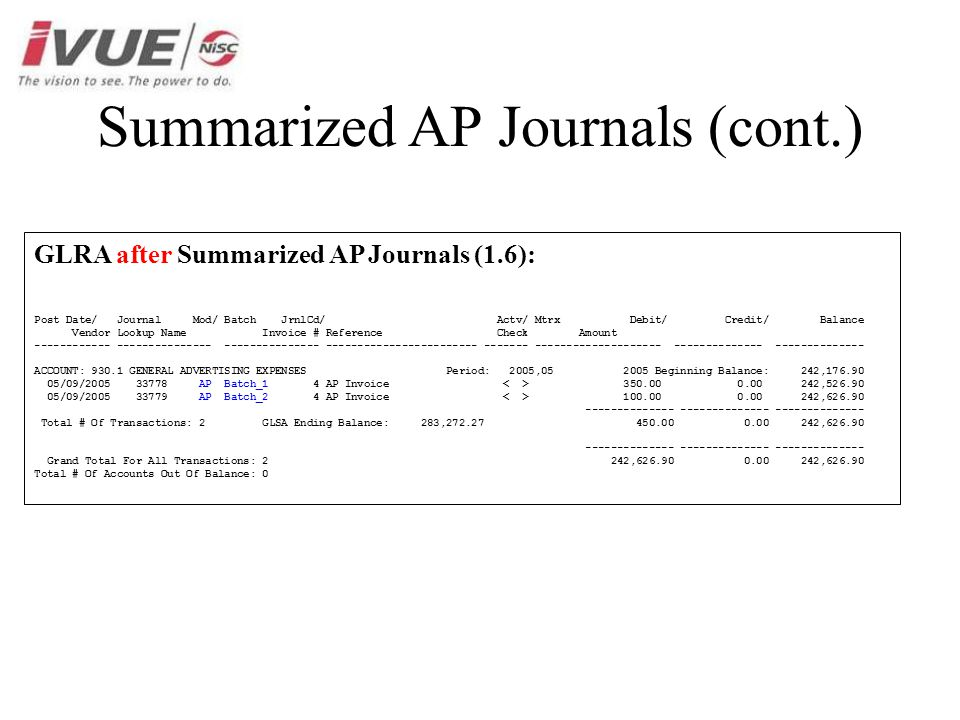 Summarized AP Journals (cont.) GLRA after Summarized AP Journals (1.6): Post Date/ Journal Mod/ Batch JrnlCd/ Actv/ Mtrx Debit/ Credit/ Balance Vendor Lookup Name Invoice # Reference Check Amount ACCOUNT: GENERAL ADVERTISING EXPENSES Period: 2005, Beginning Balance: 242, /09/ AP Batch_1 4 AP Invoice , /09/ AP Batch_2 4 AP Invoice , Total # Of Transactions: 2 GLSA Ending Balance: 283, , Grand Total For All Transactions: 2 242, , Total # Of Accounts Out Of Balance: 0