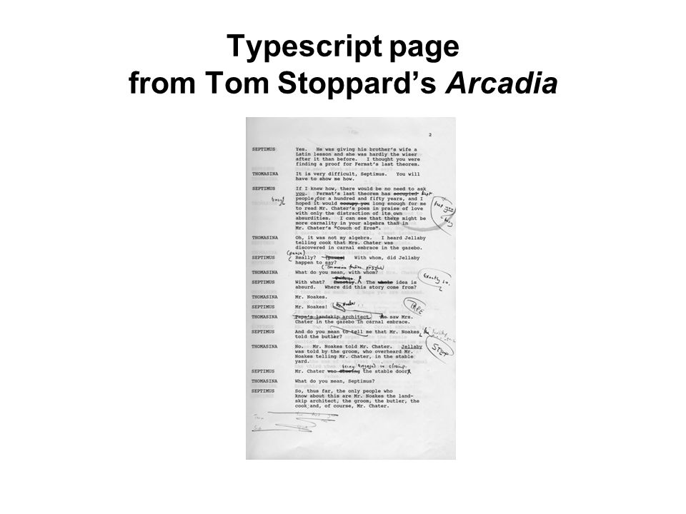 Typescript page from Tom Stoppard's Arcadia
