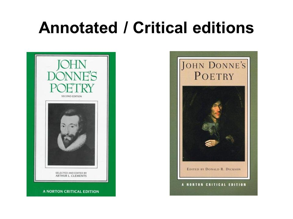 Annotated / Critical editions