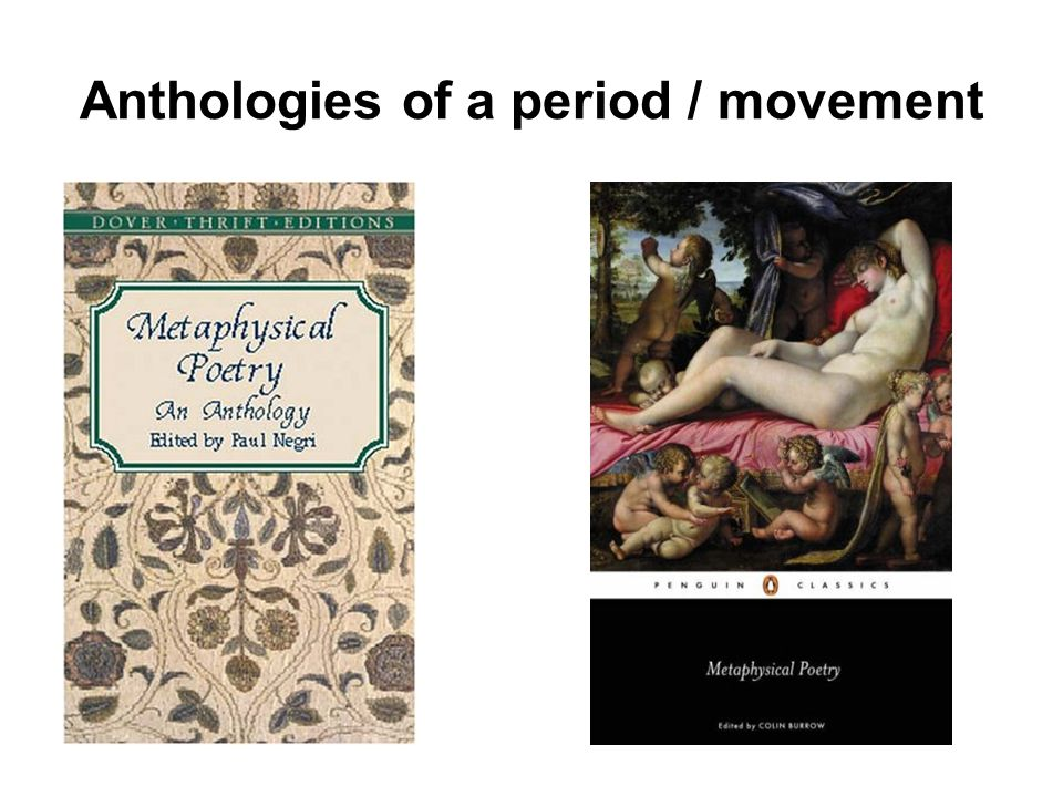 Anthologies of a period / movement
