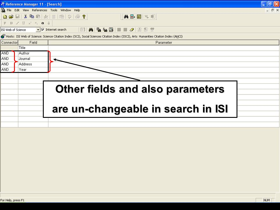 Other fields and also parameters are un-changeable in search in ISI