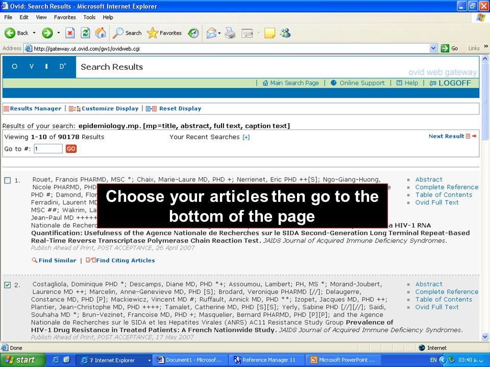 Choose your articles then go to the bottom of the page