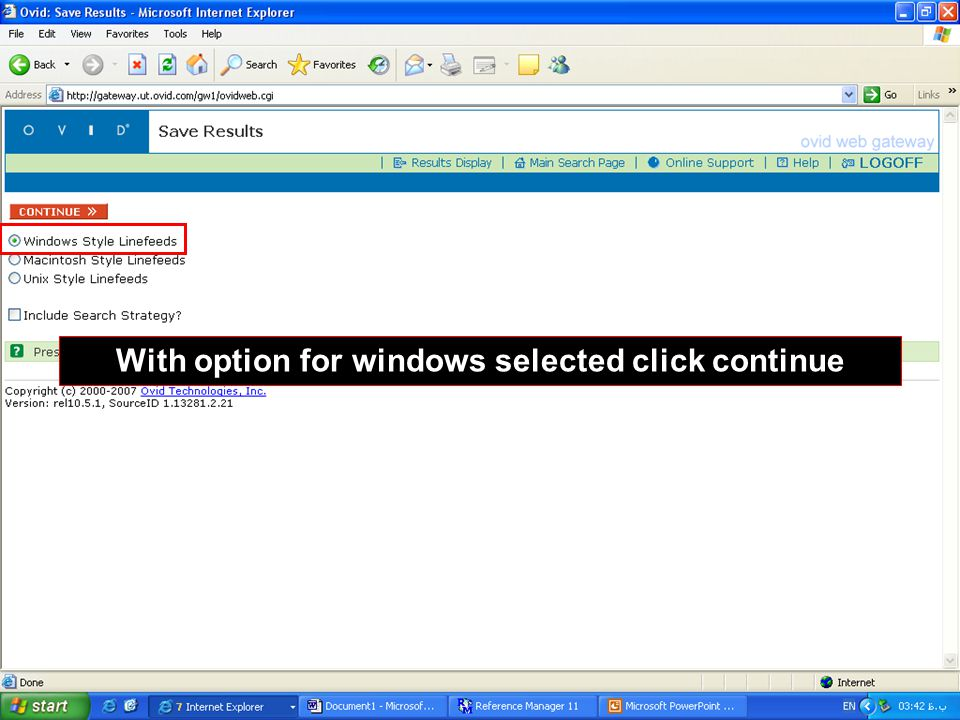 With option for windows selected click continue