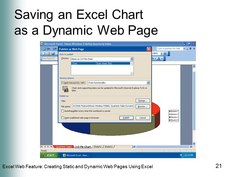 Excel Web Feature: Creating Static and Dynamic Web Pages Using Excel 21 Saving an Excel Chart as a Dynamic Web Page