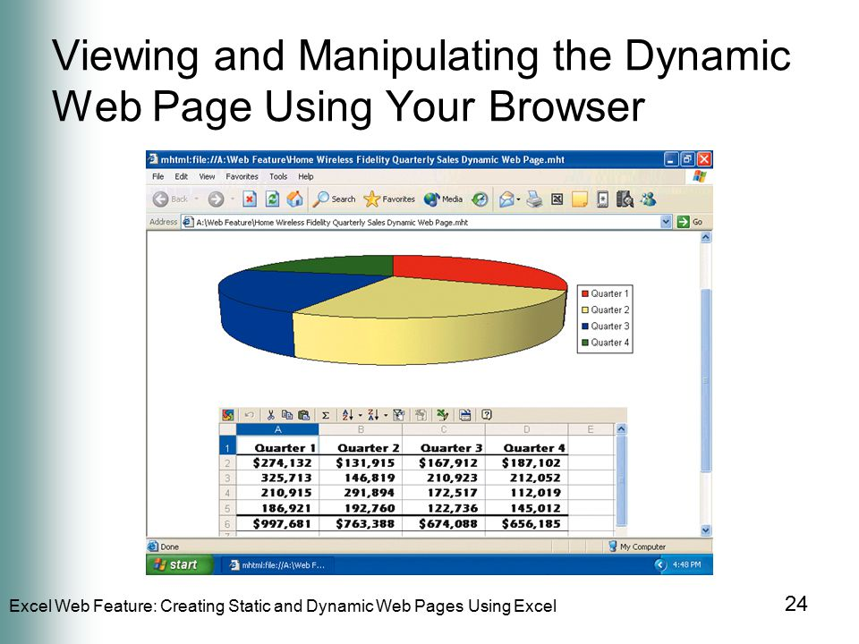 Excel Web Feature: Creating Static and Dynamic Web Pages Using Excel 24 Viewing and Manipulating the Dynamic Web Page Using Your Browser