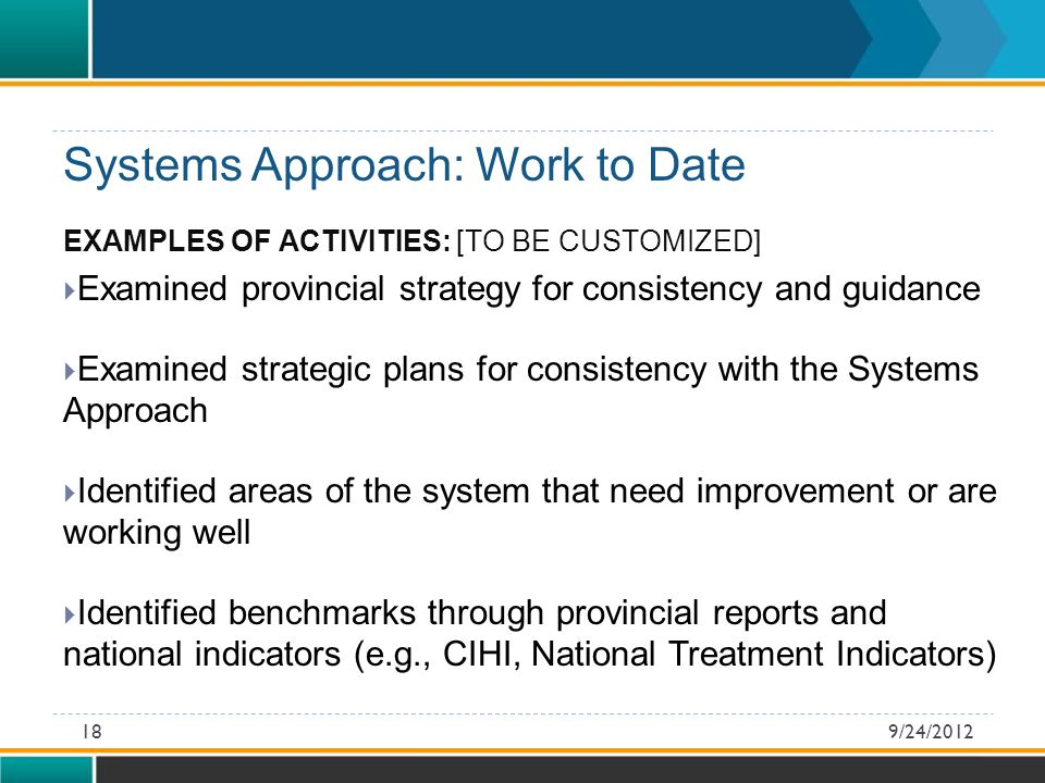 EXAMPLES OF ACTIVITIES: [TO BE CUSTOMIZED]  Examined provincial strategy for consistency and guidance  Examined strategic plans for consistency with the Systems Approach  Identified areas of the system that need improvement or are working well  Identified benchmarks through provincial reports and national indicators (e.g., CIHI, National Treatment Indicators) Systems Approach: Work to Date 9/24/201218