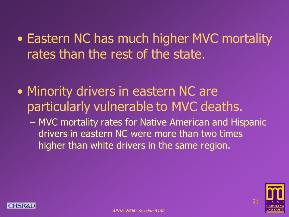 APHA-2006: Session Eastern NC has much higher MVC mortality rates than the rest of the state.