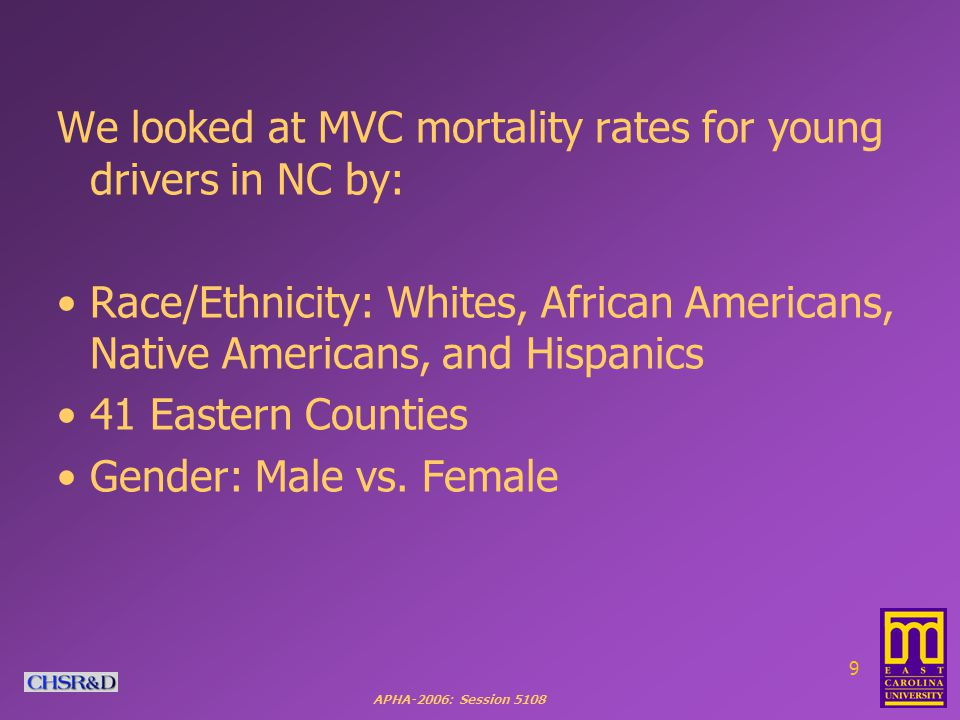 APHA-2006: Session We looked at MVC mortality rates for young drivers in NC by: Race/Ethnicity: Whites, African Americans, Native Americans, and Hispanics 41 Eastern Counties Gender: Male vs.