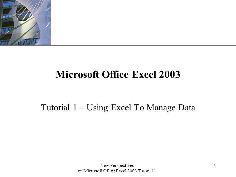 XP New Perspectives on Microsoft Office Excel 2003 Tutorial 1 1 Microsoft Office Excel 2003 Tutorial 1 – Using Excel To Manage Data