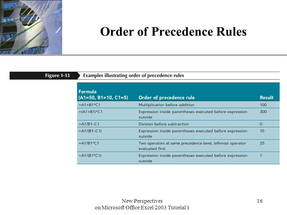 XP New Perspectives on Microsoft Office Excel 2003 Tutorial 1 16 Order of Precedence Rules