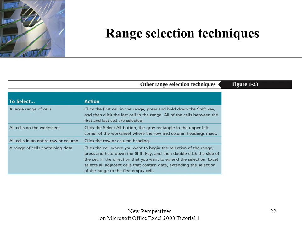 XP New Perspectives on Microsoft Office Excel 2003 Tutorial 1 22 Range selection techniques