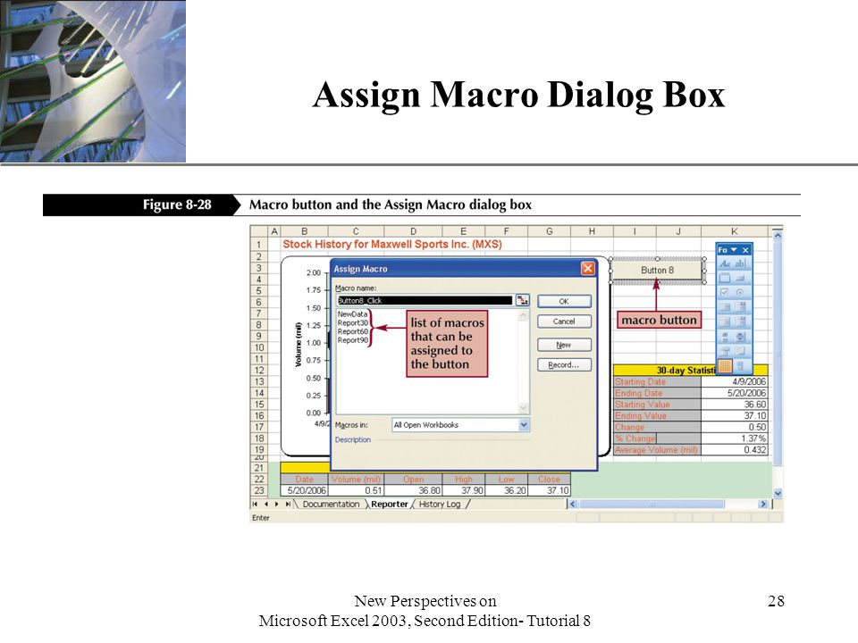 XP New Perspectives on Microsoft Excel 2003, Second Edition- Tutorial 8 28 Assign Macro Dialog Box