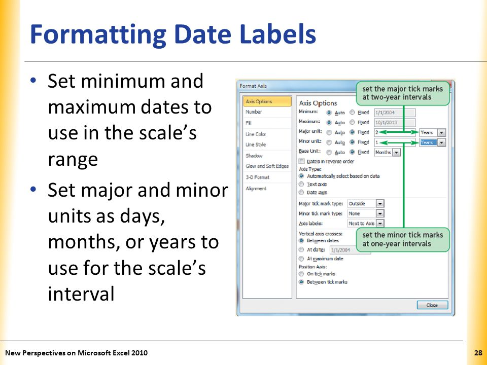 XP Formatting Date Labels Set minimum and maximum dates to use in the scale's range Set major and minor units as days, months, or years to use for the scale's interval New Perspectives on Microsoft Excel