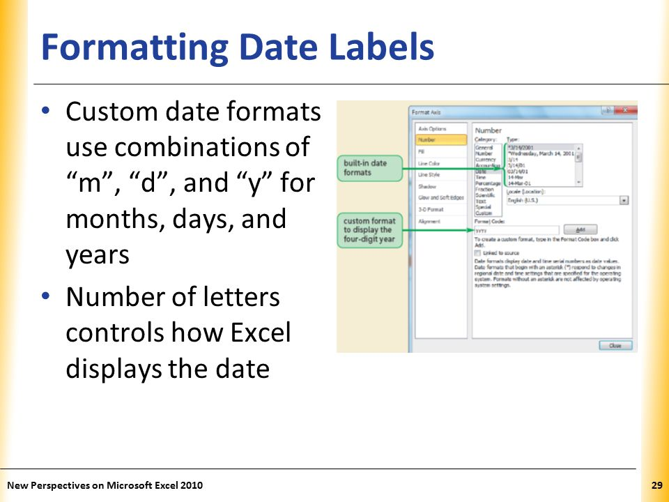 XP Formatting Date Labels Custom date formats use combinations of m , d , and y for months, days, and years Number of letters controls how Excel displays the date New Perspectives on Microsoft Excel