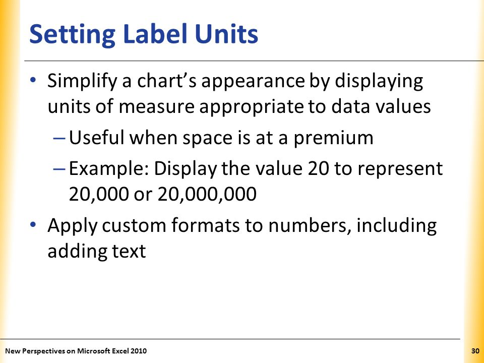 XP Setting Label Units Simplify a chart's appearance by displaying units of measure appropriate to data values – Useful when space is at a premium – Example: Display the value 20 to represent 20,000 or 20,000,000 Apply custom formats to numbers, including adding text New Perspectives on Microsoft Excel