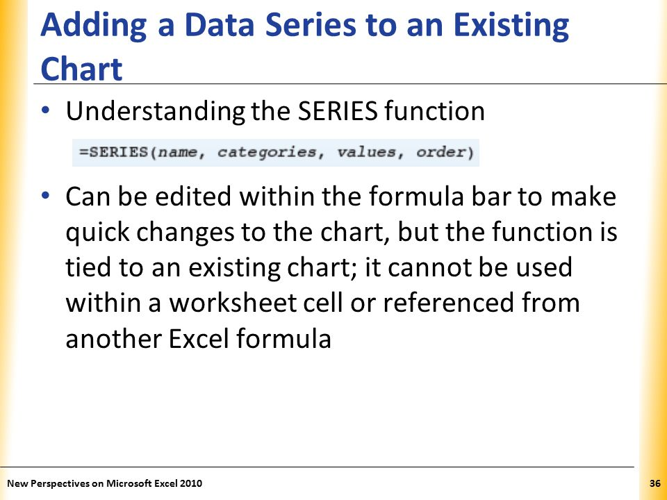 XP Adding a Data Series to an Existing Chart Understanding the SERIES function Can be edited within the formula bar to make quick changes to the chart, but the function is tied to an existing chart; it cannot be used within a worksheet cell or referenced from another Excel formula New Perspectives on Microsoft Excel