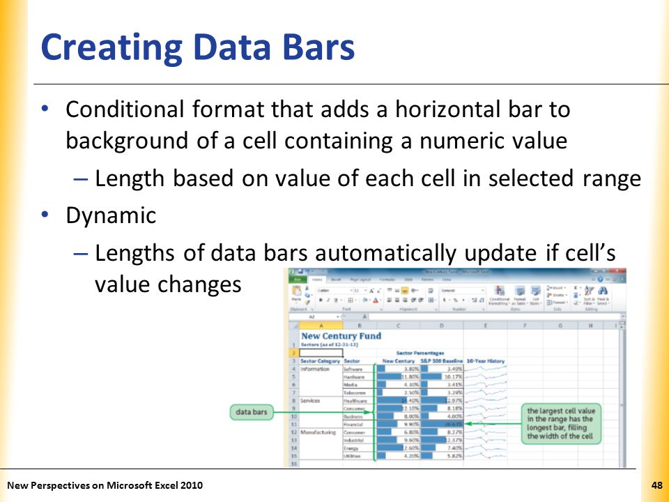 XP Creating Data Bars Conditional format that adds a horizontal bar to background of a cell containing a numeric value – Length based on value of each cell in selected range Dynamic – Lengths of data bars automatically update if cell's value changes New Perspectives on Microsoft Excel