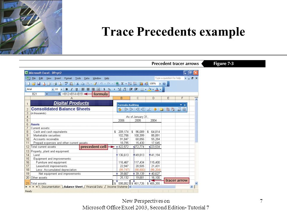 XP New Perspectives on Microsoft Office Excel 2003, Second Edition- Tutorial 7 7 Trace Precedents example