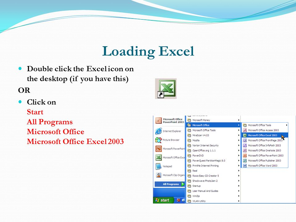 Loading Excel Double click the Excel icon on the desktop (if you have this) OR Click on Start All Programs Microsoft Office Microsoft Office Excel 2003
