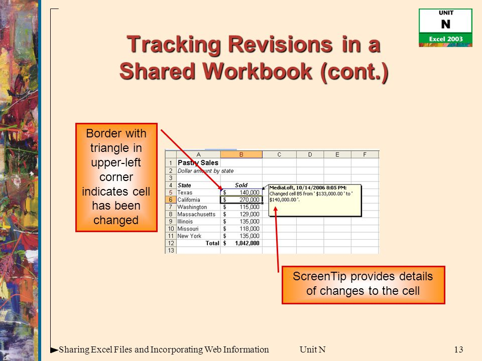 13Sharing Excel Files and Incorporating Web InformationUnit N Tracking Revisions in a Shared Workbook (cont.) Border with triangle in upper-left corner indicates cell has been changed ScreenTip provides details of changes to the cell