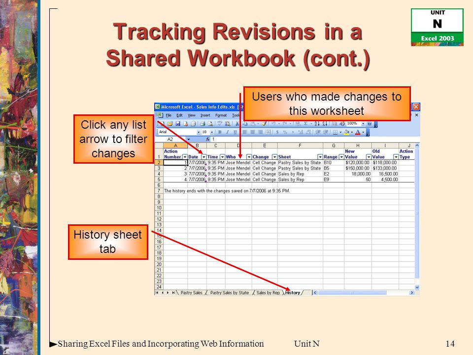 14Sharing Excel Files and Incorporating Web InformationUnit N Tracking Revisions in a Shared Workbook (cont.) History sheet tab Users who made changes to this worksheet Click any list arrow to filter changes