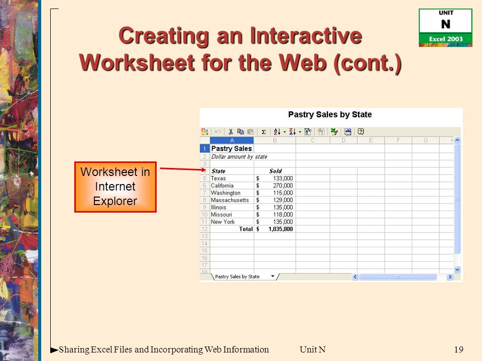 19Sharing Excel Files and Incorporating Web InformationUnit N Creating an Interactive Worksheet for the Web (cont.) Worksheet in Internet Explorer