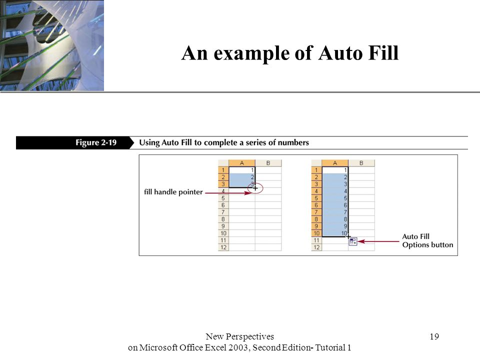 XP New Perspectives on Microsoft Office Excel 2003, Second Edition- Tutorial 1 19 An example of Auto Fill