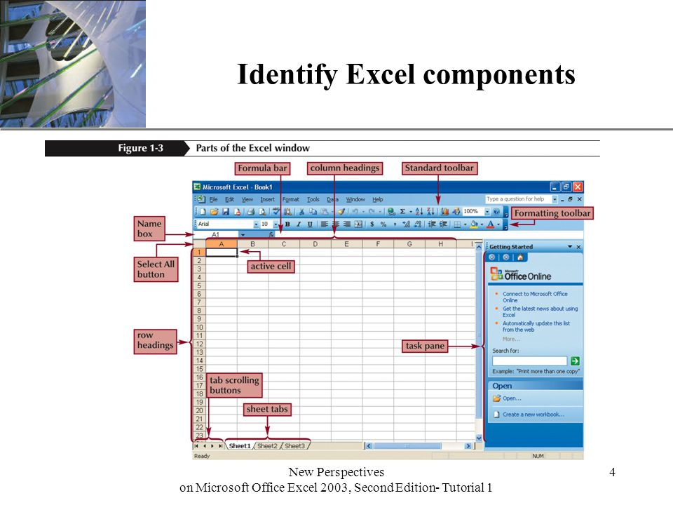 XP New Perspectives on Microsoft Office Excel 2003, Second Edition- Tutorial 1 4 Identify Excel components