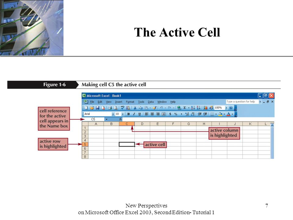 XP New Perspectives on Microsoft Office Excel 2003, Second Edition- Tutorial 1 7 The Active Cell
