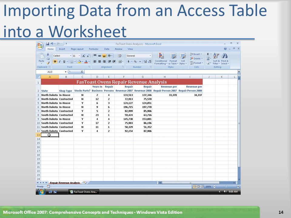 Importing Data from an Access Table into a Worksheet Microsoft Office 2007: Comprehensive Concepts and Techniques - Windows Vista Edition14