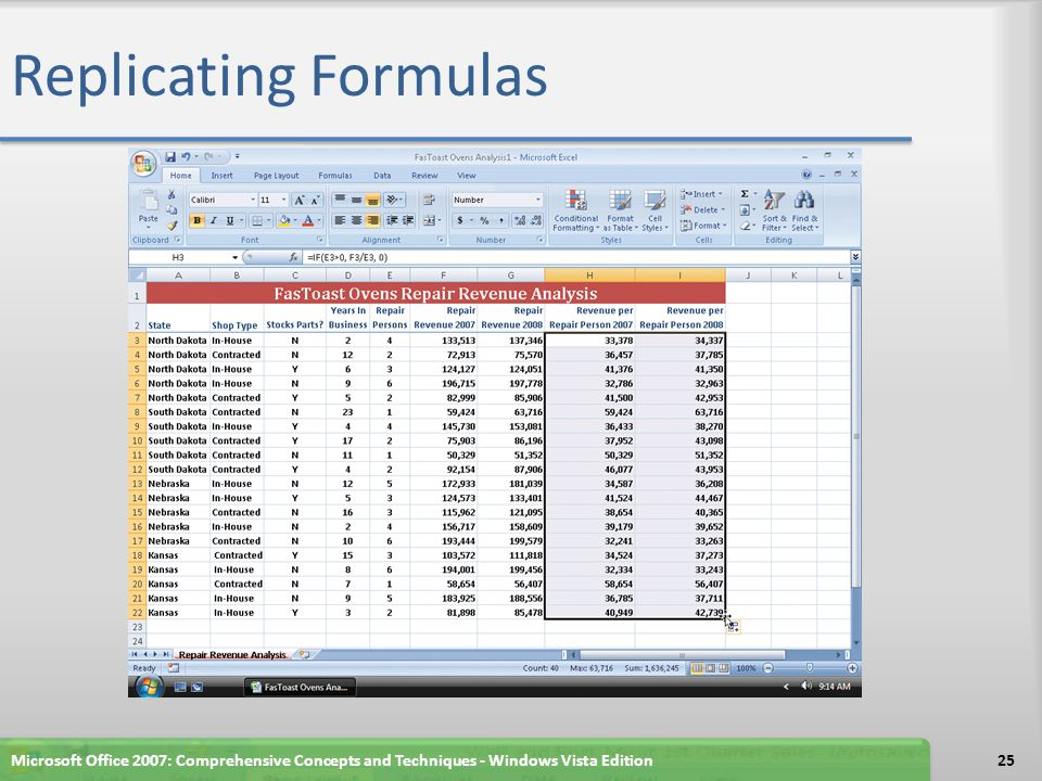 Replicating Formulas Microsoft Office 2007: Comprehensive Concepts and Techniques - Windows Vista Edition25