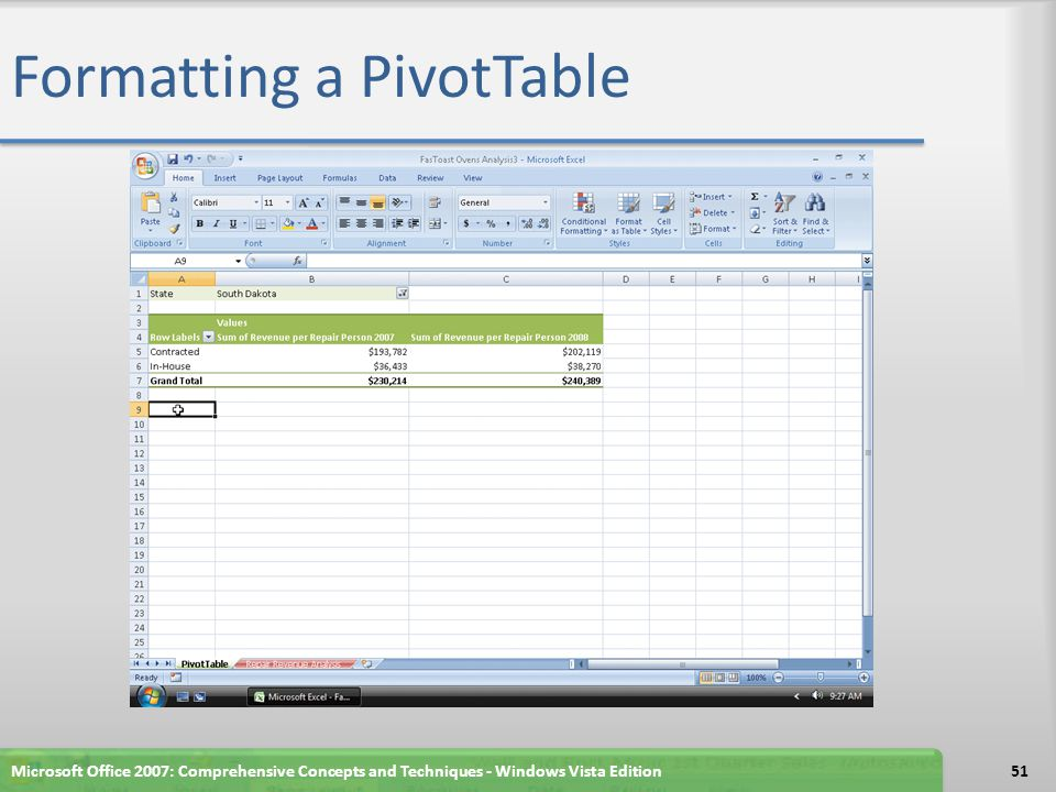 Formatting a PivotTable Microsoft Office 2007: Comprehensive Concepts and Techniques - Windows Vista Edition51