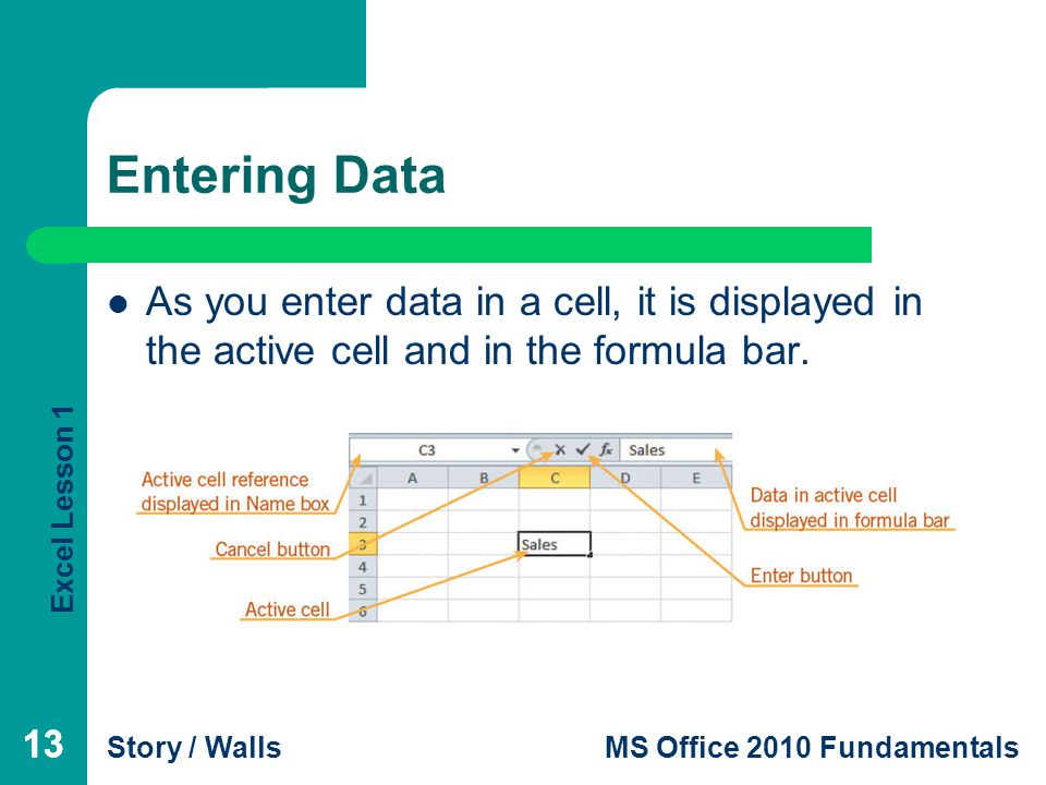 Excel Lesson 1 Story / WallsMS Office 2010 Fundamentals 13 Entering Data 13 As you enter data in a cell, it is displayed in the active cell and in the formula bar.