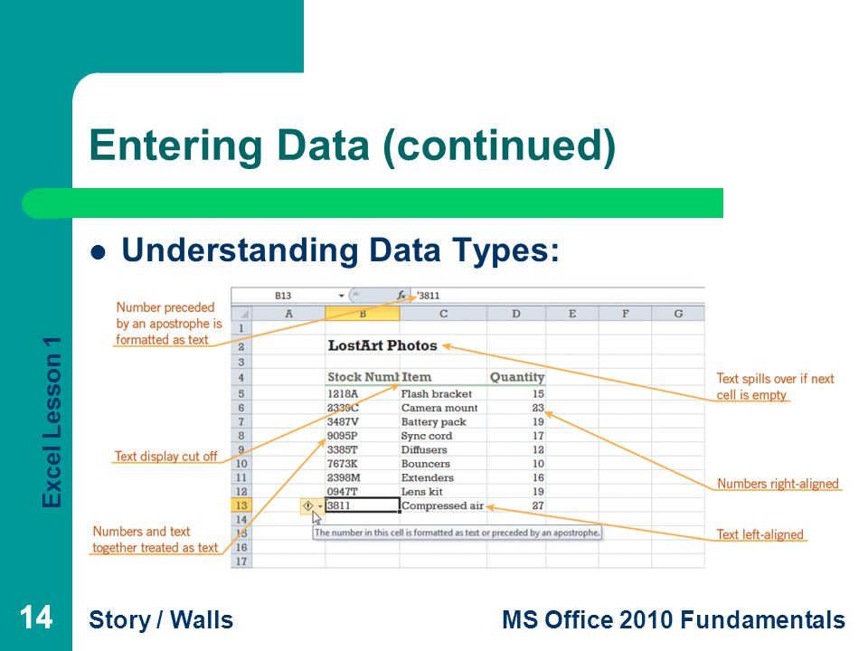 Excel Lesson 1 Story / WallsMS Office 2010 Fundamentals 14 Entering Data (continued) 14 Understanding Data Types: