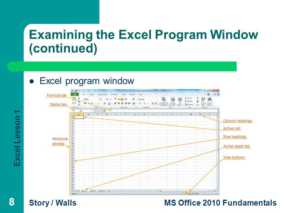Excel Lesson 1 Story / WallsMS Office 2010 Fundamentals 88 Examining the Excel Program Window (continued) Excel program window 8