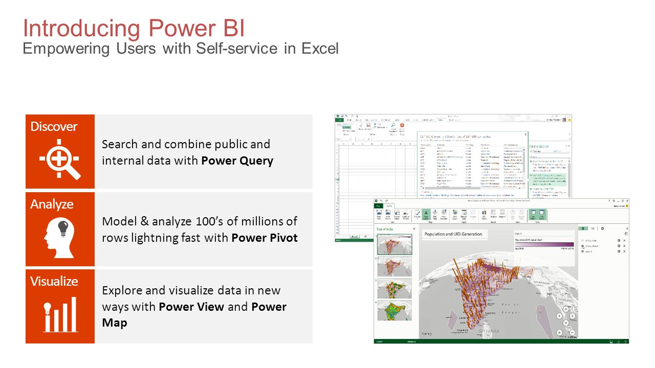 Introducing Power BI Empowering Users with Self-service in Excel Analyze Visualize Discover Search and combine public and internal data with Power Query Model & analyze 100's of millions of rows lightning fast with Power Pivot Explore and visualize data in new ways with Power View and Power Map