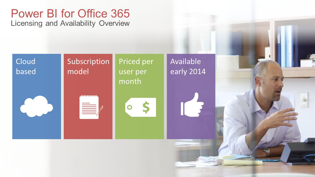 Power BI for Office 365 Licensing and Availability Overview Available early 2014 Priced per user per month Subscription model Cloud based