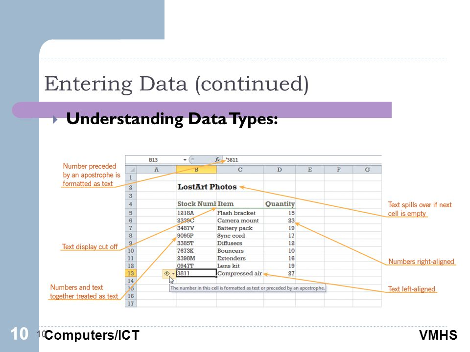 Computers/ICTVMHS Entering Data (continued) 10  Understanding Data Types: 10