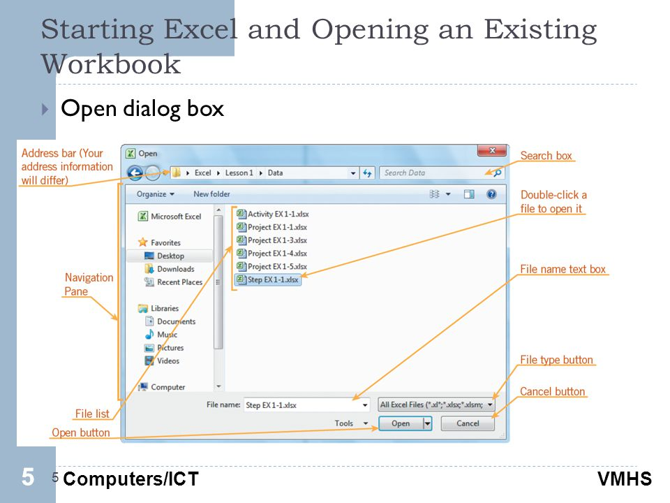 Computers/ICTVMHS Starting Excel and Opening an Existing Workbook 5  Open dialog box 55